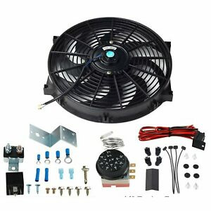 14 Inch Electric Radiator Engine Fan adjustable Fin Probe Thermostat Switch Set