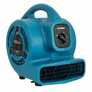 Xpower P 80a Mini Mighty Air Mover Utility Fan With Built in Power 1 blue