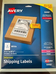 Avery Shipping 50 Labels 6440 8126 5126 Laser Inkjet 5 1 2 X 8 1 2 25 Sheets