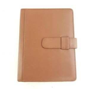Day Timer 7 Ring Brown Tan Leather Planner Tab Closure Binder Notebook Cover