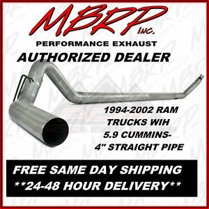Mbrp 4 Straight piped Exhaust For 1994 2002 Dodge Ram W 5 9 Cummins Diesel