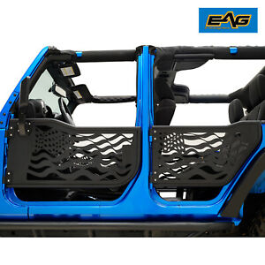 Eag Us Flag Replacement Tube Door With Mirror Fit For 07 18 Jeep Wrangler Jk 4dr