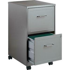 2 Drawer Metal File Cabinet Filing 18 Deep Home Office Furniture Lock Gray