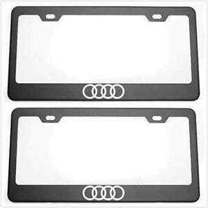 2pcs Audi License Plate Frames With Screw Caps