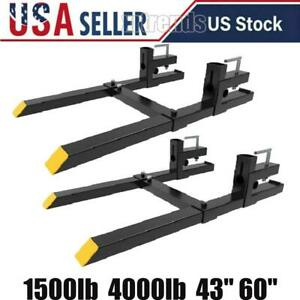 1500lb 4000lb 43 60 Tractor Pallet Forks Clamp On Skid Steer Loader Bucket Us