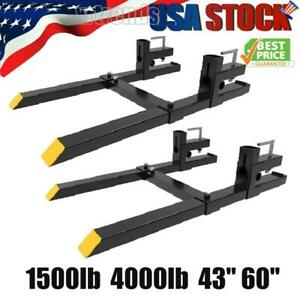 1500lb 4000lbs Pallet Forks Clamp On 43 60 For Loader Tractor Bucket Forks