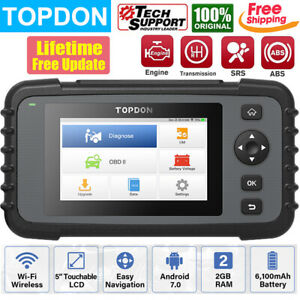 Topdon Car Obd2 Scanner Engine Transmission Abs Srs Diagnostic Tool Code Reader