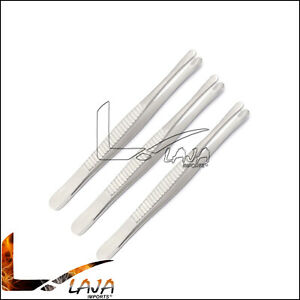 3 Russian Tissue Forceps 6 Serrated Tips Surgical Dental Instruments