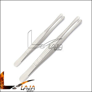 2 Pieces Dental Tissue Forceps Russian 6 8 Surgical Veterinary Instruments