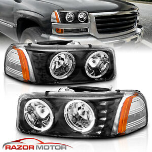 Dual Led Halo 1999 2006 Gmc Sierra 2000 2006 Yukon Yukon Xl Black Headlights