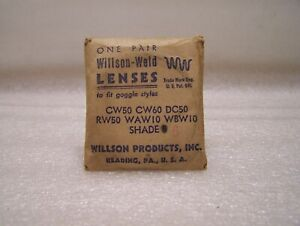 1 Pair Vintage Willson Welding Goggle Shade 6 Glass Lens Round 50mm Unused