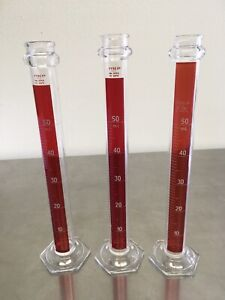 Lot Of 3 Pyrex Glass 50ml Metric Scale Red Graduated Cylinder 3046 50 Excellent