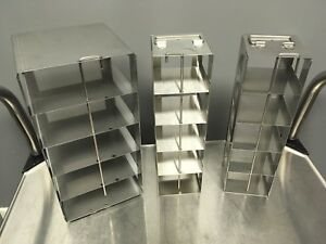 Lot Of 3 Small Stainless Steel Cryogenic Freezer Racks Pre owned Clean