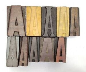 Letterpress Letter Wood Type Printers Block Lot Of a 10 Typography eb 249