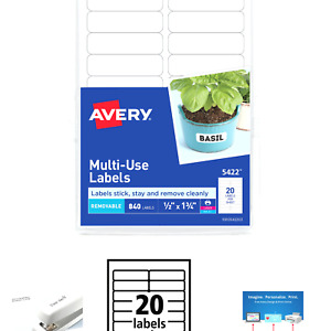 Avery 5422 Mulit Use Labels Removable 840 Labels 1 2 X 1 3 4 Laser Or Inkjet