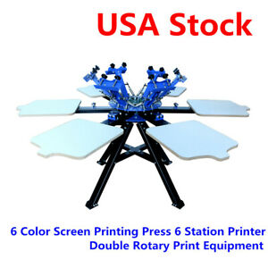6 Color 6 Station Screen Printing T shirt Press Printer Double Rotary Machine us