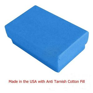 100 Cobalt Blue Cotton Filled Jewelry Packaging Gift Boxes 2 5 8 X 1 1 2 X 1