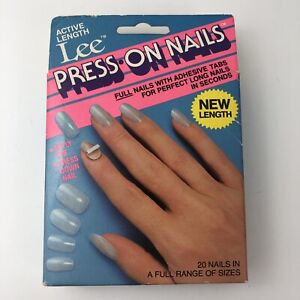 Vintage Lee Press On Nails Active Length 20 Nails W Tabs NEW SEALED BOX NOS $34.99