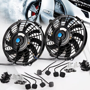 2x Universal Slim Fan Push Pull Electric Radiator Cooling Mount 9 Inch 12v