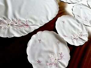 Vintage Lot Embroidered White Polycotton Table Centre Doilies X 6