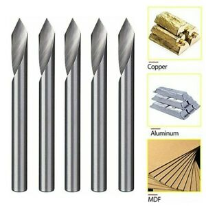 5x Spiral 60 Degree V Groove Engraving Tool Flat Bottom Cnc Router Bits 1 8 Inch