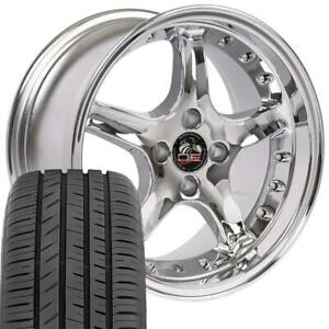 17x8 Wheels Toyo Proxes Tires Fit Ford Mustang Cobra Style Chrome Rim W rivets