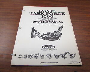 Davis Case Task Force 1000 Self propelled Trenchers Owner s Owners Manual