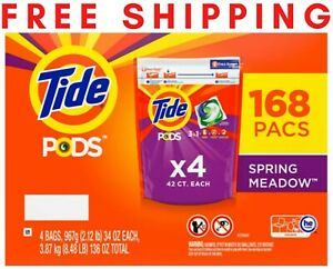 Tide Pods Liquid Laundry Detergent Pacs Spring Meadow 168 Ct Free Shipping