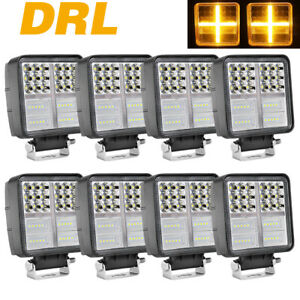 8x 5 Led Driving Lights Off Road 3000k Drl 6000k Spot Flood Headlight 12v 4wd