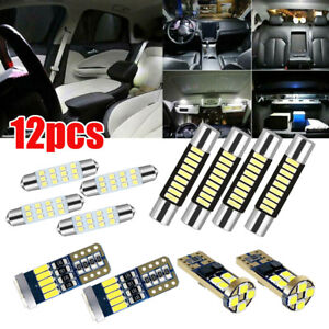 12x Car Interior Led Light Bulbs For Dome License Plate Lamp Accessories White