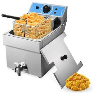 Commercial Countertop Gas Fryer Single Cylinder W temperature Limiter 11l