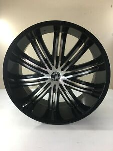 Set Of 4 22x9 5 Black Wheel 2crave N07 Glossy Black Machined Face Offset 30mm