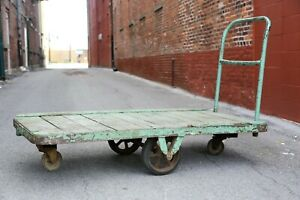 Vintage Industrial Wooden Railroad Factory Cart Coffee Table Mint Green Large