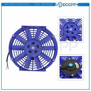 Electric Radiator Condenser Cooling Fan Assembly 10 inch Universal 12v Blue