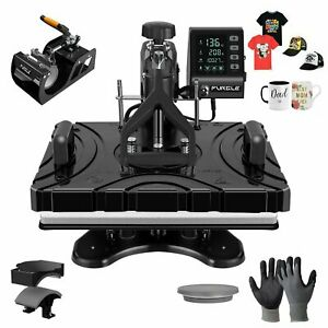 5 In 1 Heat Press Machine Sublimation Transfer Diy For T shirt Mug Cup Plate Hat