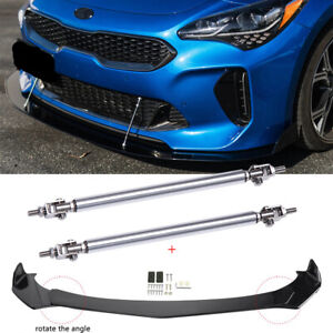 For Kia Stinger Forte Optima Front Bumper Lip Splitter Chin Spoiler Strut Rods
