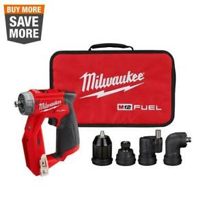 12 volt Brushless Cordless Installation 3 8 In Drill Driver W 4 Head Tool Only