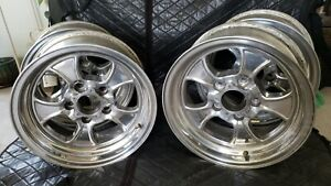 American Racing Hopsters 4 15x7 Early Chevy Mag Wheels New Caps