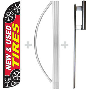 New Used Tires 15 Tall Windless Swooper Feather Banner Flag Pole Kit