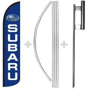Subaru 15 Tall Windless Swooper Feather Banner Flag Pole Kit