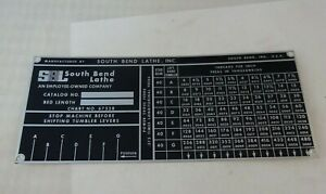 South Bend Lathe Heavy 10l Thread Plate Chart Tag 6752r Nos Factory Original