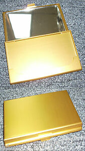 Business Card Holder With Mirror All Metal Pocket Size Gold Anc002g