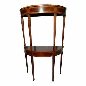 Formal Mahogany And Satinwood Inlaid Demilune Hall Table A Pair