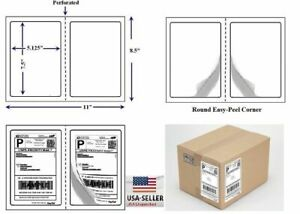 Round Corner Perforated Shipping Labels 2 Per Sheet 7 5 X 5 125 Self Adhesive