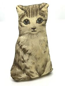 Primitive Antique Blue Eyed Cat Kitty Pillow 6 Stuffed Fabric Oil Painted Cloth