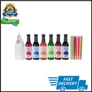 12 7oz Snow Cone Syrups 6 Pack W cups straws