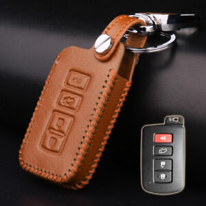 Brown Leather Remote Key Fob Case Cover For Toyota Highlander Camry Rav4 Corolla