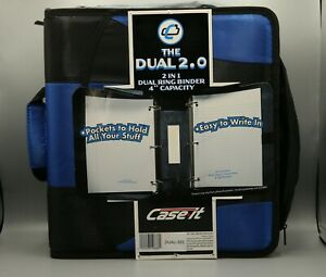 Case It The Dual 2 0 2 In 1 Dual Ring Binder 4 Capacity Blue