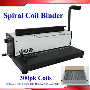 Steel Metal Spiral Coil 34holes Punching Binding Machine 300 Sheets Coils Office