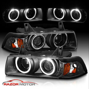 dual Led Halo 1992 1998 Bmw E36 3 Series Sedan Projector Black Headlights G2